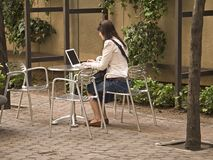 Computer in the Park. This shot is of a woman using her laptop on a nice day in the park royalty free stock images