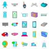 Computer part icons set, cartoon style. Computer part icons set. Cartoon set of 25 computer part vector icons for web isolated on white background Royalty Free Stock Images
