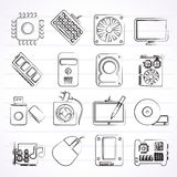 Computer part icons Stock Images