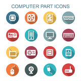 Computer part long shadow icons Royalty Free Stock Image