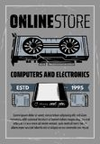 Computer hardware and electronic devices. Computer part store electronic devices. Memory card, power bank and video card digital gadget in retro style stock illustration