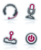 Computer Parts. And accessories, pictured here from left to right: Headphones, Microphone, Joystick, Power button. Vector icons set saved as an Adobe stock illustration