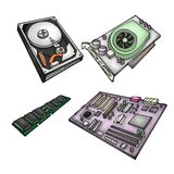 Computer parts. Color illustration of computer parts - harddrive, graphics card, memory module, motherboard Stock Images