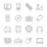Computer parts and accessories icons Royalty Free Stock Image