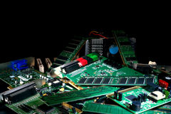 Computer Parts And Circuit Boards In Trash Pile Royalty Free Stock Images