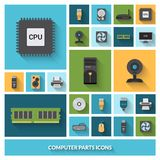 Computer Parts Decorative Icons Set Royalty Free Stock Photo