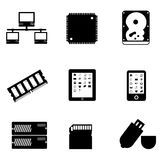 Computer parts and devices. Computer parts and peripheral devices Stock Photo