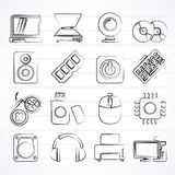 Computer Parts and Devices icons Royalty Free Stock Photography