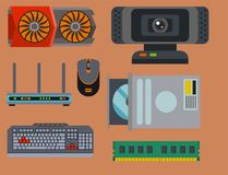 Computer parts network component accessories various electronics devices   Royalty Free Stock Photos