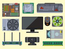Computer parts network component accessories various electronics devices and desktop pc processor drive hardware memory. Card vector illustration. Electronics Stock Photos