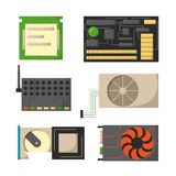 Computer parts network component accessories various electronics devices and desktop pc processor drive hardware memory Royalty Free Stock Photos