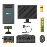 Computer parts network component accessories various electronics devices and desktop pc processor drive hardware memory Stock Image