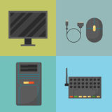 Computer parts network component accessories various electronics devices and desktop pc processor drive hardware memory. Card vector illustration. Electronics Royalty Free Stock Photo