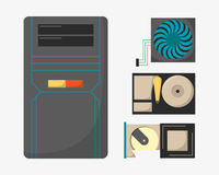 Computer parts network component accessories various electronics devices and desktop pc processor drive hardware memory. Card vector illustration. Electronics Stock Images