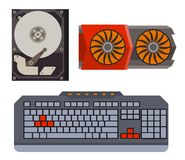 Computer parts network component accessories various electronics devices and desktop pc processor drive hardware memory. Card vector illustration. Electronics Stock Photography