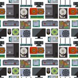 Computer parts network component accessories various electronics devices seamless pattern background processor drive. Hardware memory card vector illustration Royalty Free Stock Photos