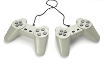 Computer parts new. Close up of gaming console on white background with clipping path Royalty Free Stock Photos