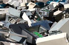 Computer parts recycling. A pile of dismantled computer parts for electronic recycling Stock Photography