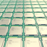 Computer PC CPU chip electronics industry concept, close-up viewmodern processors with depth of field effect Royalty Free Stock Images