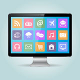 Computer PC monitor with icons Royalty Free Stock Images