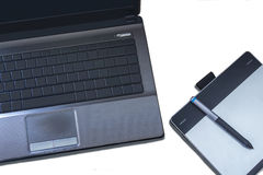 Computer and pen tablet. Technology and Graphic tools Personal Accessory royalty free stock images