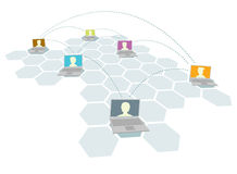 Computer and people network / Multiple users. Computer and people network or Multiple users Stock Image