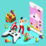 Computer People Video Game Gaming Isometric Vector Illustration stock illustration