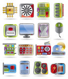 Computer  performance and equipment icons Stock Images