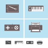 Peripheral devices icons. Set of peripheral computer devices, with graphic tablet,midi keyboard,game pad and printer Stock Image