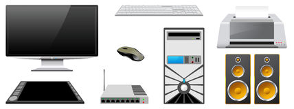 Computer peripheral devices are isolated on a white background. Computer case, monitor, printer, router, keyboard, mouse, speakers, graphics tablet are isolated Royalty Free Stock Photography