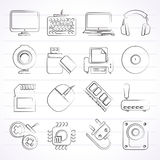 Computer peripherals and accessories icons Stock Photography