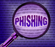 Computer Phishing Means Magnifier Magnifying And Internet Royalty Free Stock Photo