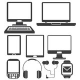 Computer and phone icons. Collection of computer and phone icons icons in white background Stock Image