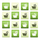 Computer and Phone Icons over color background - Folders. Vector Icon Set stock illustration