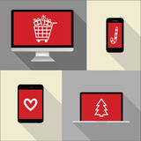 Computer, phone, laptop, notebook illustration with christmas sh Stock Images