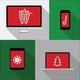 Computer, phone, laptop, notebook illustration with christmas sh Royalty Free Stock Photos