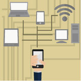 Computer, phone, tablet and laptop. Vector illustration , information transfer over wi-fi between your computer, phone, tablet and laptop Royalty Free Stock Images