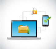 Computer and phone transferring documents. Stock Photography