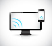 Computer and phone with wifi signal. illustration Royalty Free Stock Photos