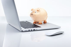 Computer Piggy Bank Technology Finance Stock Photography