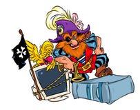 Computer pirate cartoon Stock Image