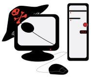 A computer pirate illegally Stock Photos
