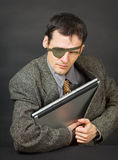 Computer pirates stole laptop with information Royalty Free Stock Image