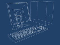 Computer Plans Blueprint. Blueprint of a computer, LCD monitor and keyboard in three dimensions Royalty Free Stock Images