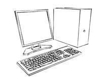 Computer Plans Marker. A 3d computer, LCD monitor and keyboard drawn with a marker isolated on white Stock Photos