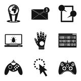 Computer play icons set, simple style. Computer play icons set. Simple set of 9 computer play vector icons for web isolated on white background Stock Photos