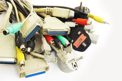 Computer Plugs. Bunch of Computer Cables with Sockets on White Background Stock Photo