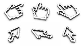 Computer pointers. Extruded computer pointers on a white background created in Cinema 4D royalty free illustration