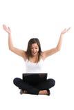 Computer portatile asiatico della donna Fotografia Stock