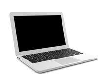 Computer portatile bianco con lo schermo nero isolato su fondo bianco immagini stock